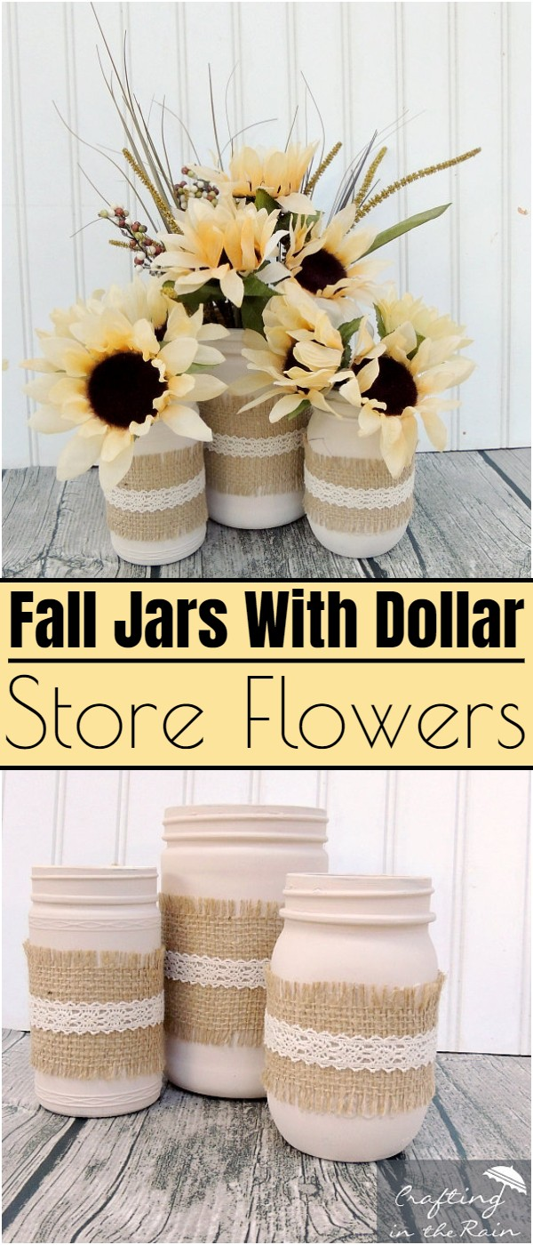 Fall Jars With Dollar Store Flowers
