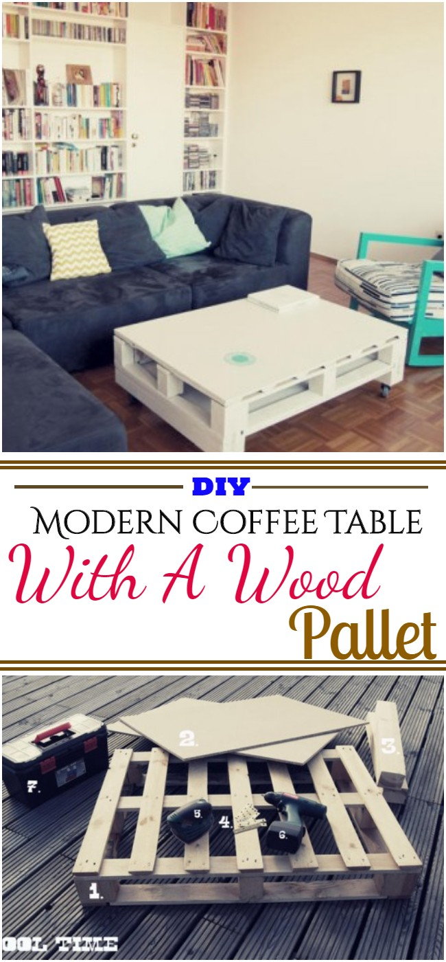 Modern Coffee Table With A Wood Pallet