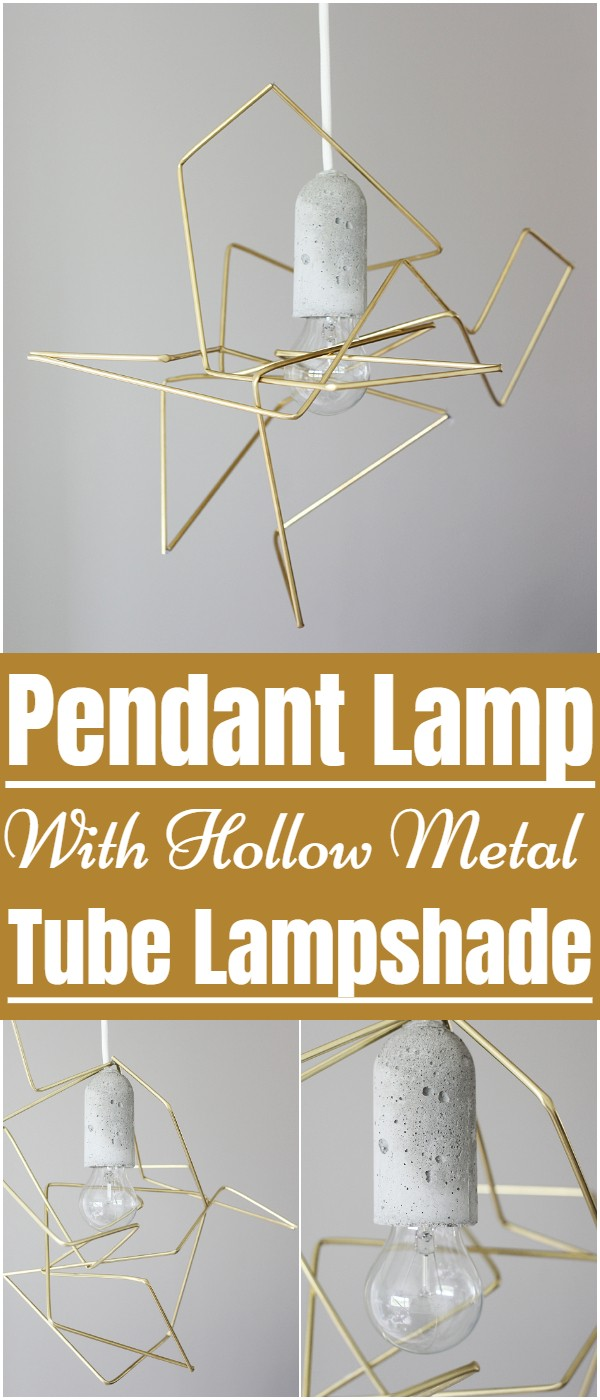 Pendant Lamp With Hollow Metal Tube Lampshade