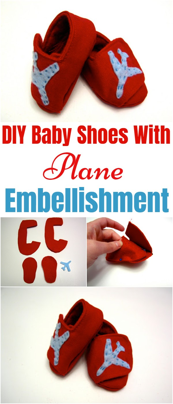 DIY Baby Shoes With Plane Embellishment