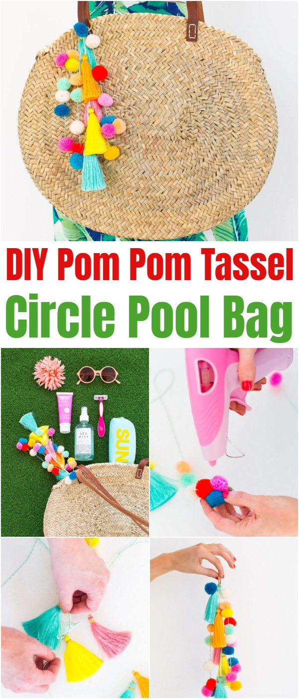 DIY Pom Pom Tassel Circle Pool Bag