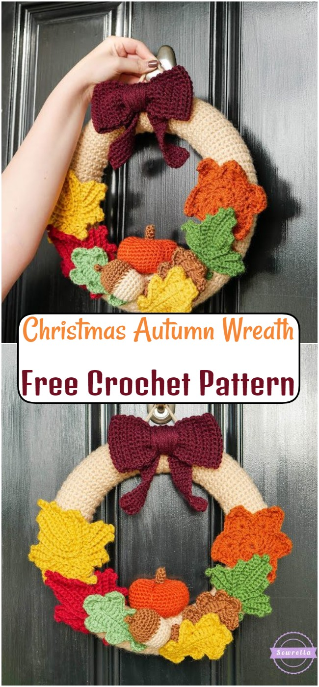 Free Crochet Christmas Autumn Wreath Pattern