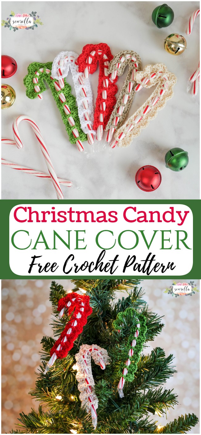Free Crochet Christmas Candy Cane Cover Pattern