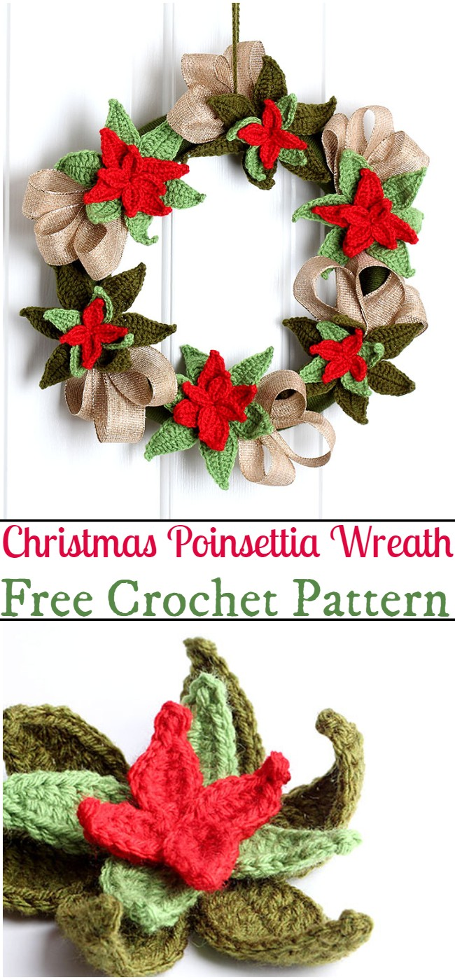 Free Crochet Christmas Poinsettia Wreath Pattern