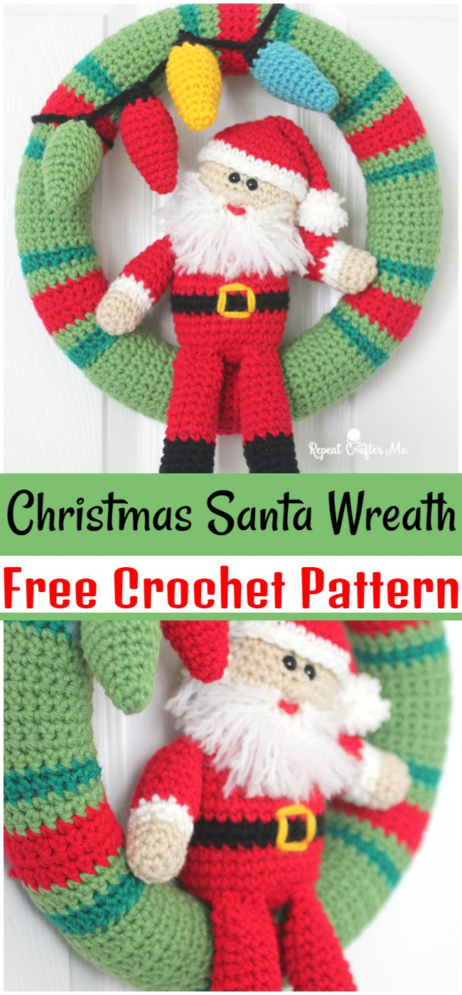 Free Crochet Christmas Santa Wreath Pattern