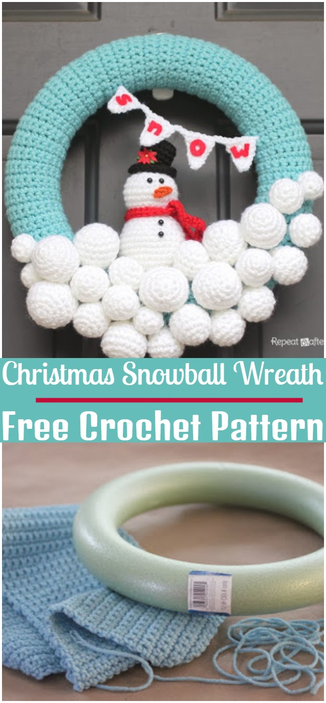 Free Crochet Christmas Snowball Wreath Pattern