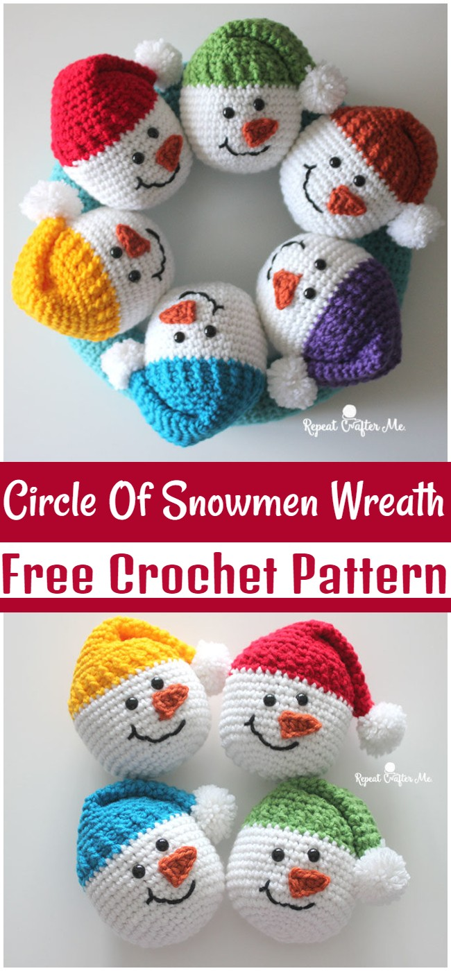 Free Crochet Circle Of Snowmen Wreath Pattern