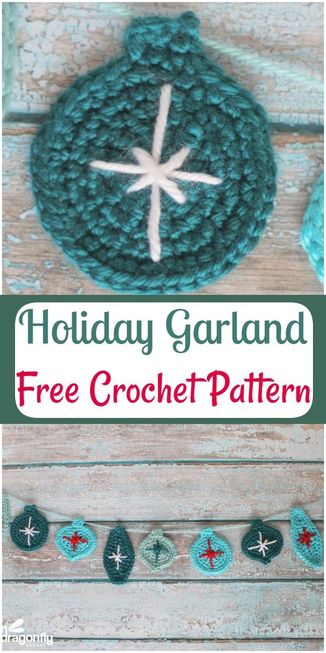 Free Crochet Christmas Holiday Garland Pattern