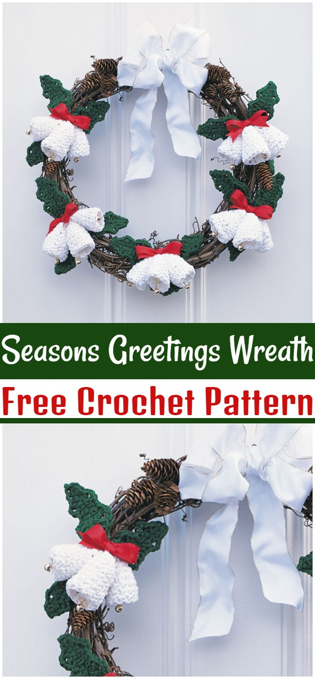 Free Crochet Seasons Greetings Wreath Pattern