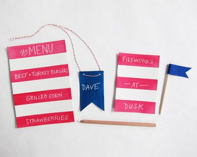 4th Of July Menu + Name Tags