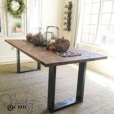 DIY Rustic Modern Dining Table Idea