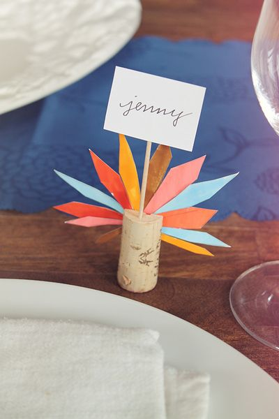 DIY Turkey Feather Place Cards