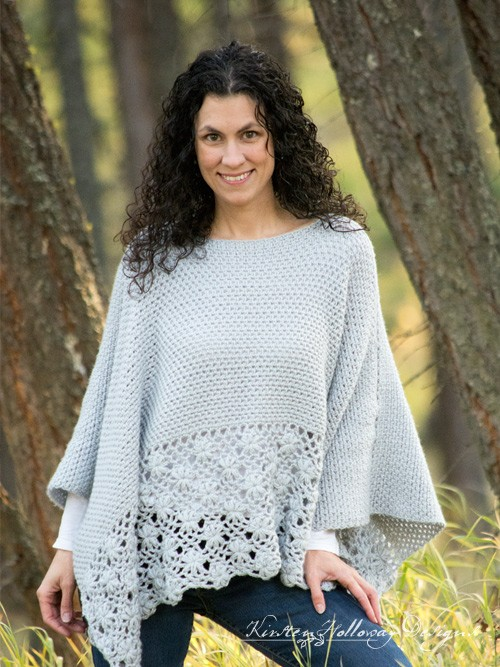 Free Crochet Frost Petals Lace Poncho Pattern