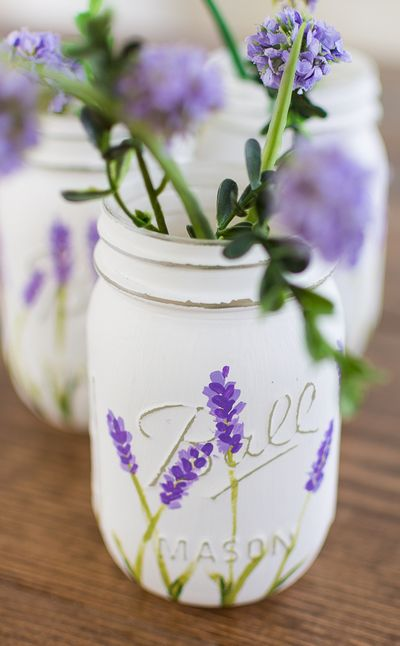 Lavender Flower Painted Mason Jars Idea