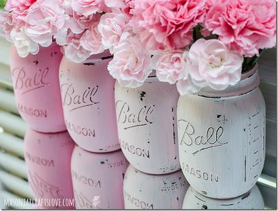 Pink Painted Mason Jars Idea