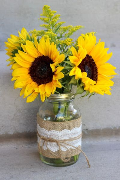 Summery Sunflowers In Mason Jars Michelle