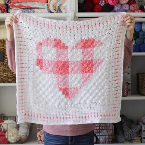 Crochet Gingham Heart Blanket