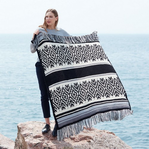 Crochet Nordic Stripes Blanket Pattern