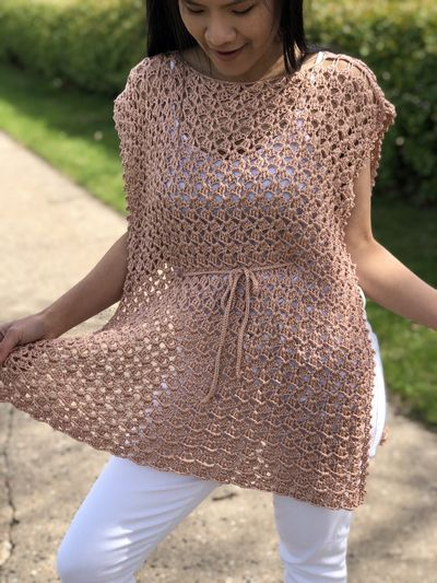 Crochet Poncho Summer Top Free Pattern