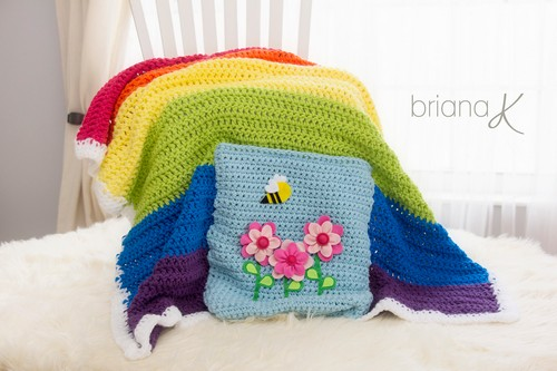 Crochet Rainbow Pocket Blanket Pattern