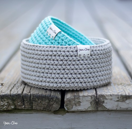 Herringbone Round Crochet Basket Pattern