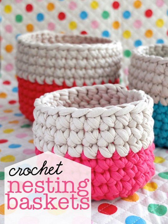 Nesting Free Crochet Baskets Pattern