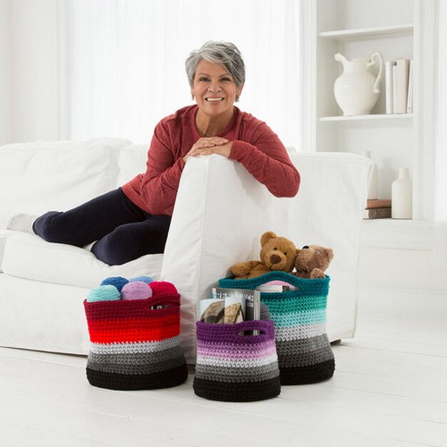 Ombre Free Crochet Baskets Pattern